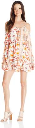 Lucy-Love Lucy Love Women's Hollie Printed Off Shoulder Dress