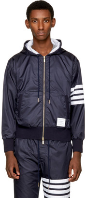 Thom Browne Navy Ripstop Four Bar Zip Hoodie $850 thestylecure.com