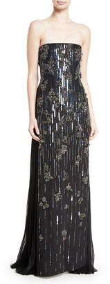 J. Mendel Embellished Strapless Silk Gown
