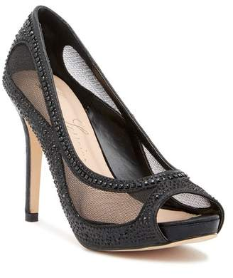 Ralph Lauren Lorraine Bernice Peep Toe Crystal Embellished Pump (Women)