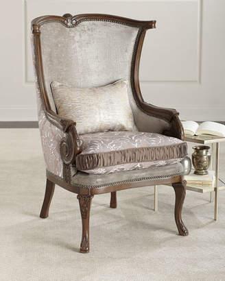 Massoud Lia Damask Wing Chair