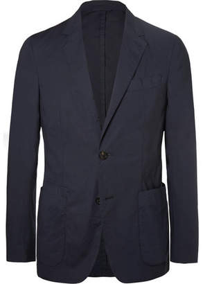 Ermenegildo Zegna Navy Stretch-Cotton Poplin Suit Jacket - Men - Navy