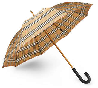 Burberry Leather-Handle Checked Umbrella - Camel