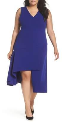 Vince Camuto Asymmetrical Hem Scuba Crepe Fit & Flare Dress