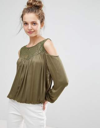 B.young Lace Insert Cold Shoulder Blouse