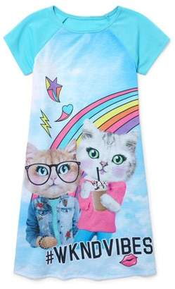Children's Place The Girl's Glam Cat Short Sleeve Nightgown (Big Girl & Little Girl)