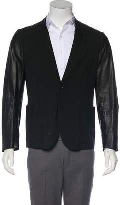 Paul Smith Leather-Trimmed Deconstructed Wool Blazer