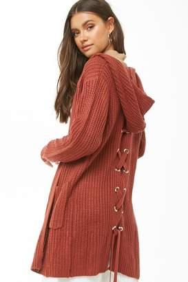 Forever 21 Hooded Lace-Up Longline Cardigan