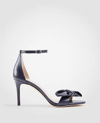 Ann Taylor Kinsley Leather Bow Heeled Sandals