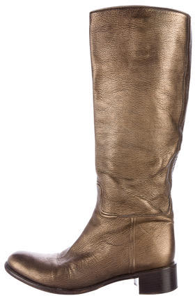 pradaPrada Metallic Leather Boots