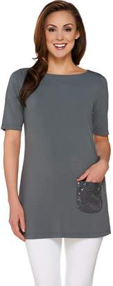 Joan Rivers Classics Collection Joan Rivers Short Sleeve Tunic with Sequin Pocket