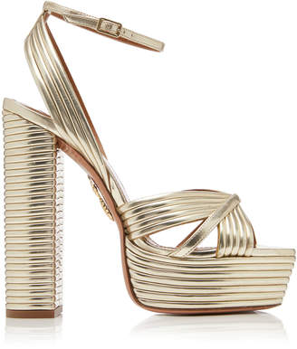 9938818037b Aquazzura Sundance Plateau Metallic Leather Platform Sandals