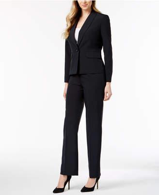 Le Suit One-Button Pinstriped Pantsuit