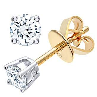 fc17e2ccd at Amazon.co.uk · Naava Women's 18 ct Yellow Gold Stud Earrings, H/SI  Certified Diamonds, Round