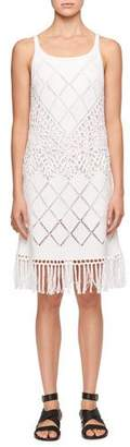 Chloé Sleeveless Scoop-Neck Crochet-Knit Dress with Fringe-Hem