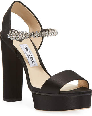 0e65b106208 Jimmy Choo Black Platform Heel Women s Sandals - ShopStyle