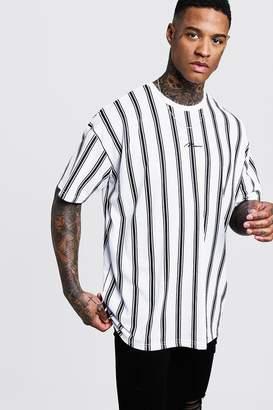 boohoo Oversized Stripe MAN Signature T-Shirt