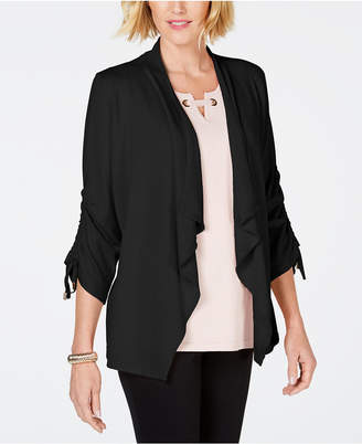 JM Collection Draped-Front Ruched-Sleeve Cardigan