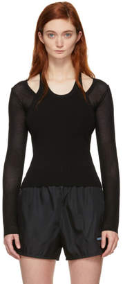 Alexander Wang Black Mesh Layering Long Sleeve T-Shirt