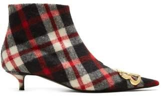 Balenciaga Tartan Bb Ankle Boots - Womens - Red Multi