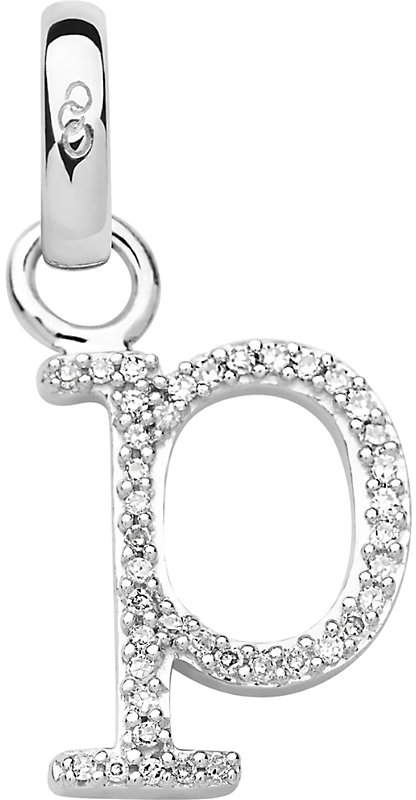 Alphabet P sterling silver and diamond charm