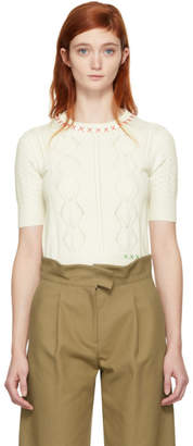 Carven Off-White Embroidered Sweater