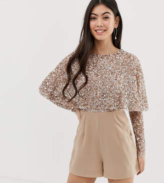 Maya Petite cape detail playsuit with tonal delicate sequin top in taupe blush