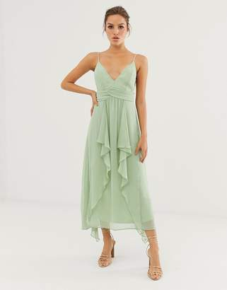 Asos Design DESIGN cami midi dress with soft layered skirt and ruched bodice
