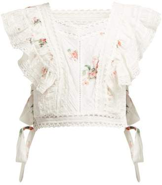 Zimmermann Heathers Floral Print Embroidered Crop Top - Womens - White Multi