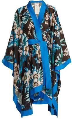 Diane Von Furstenberg - Floral Print Cotton And Silk Blend Kimono - Womens - Navy Print