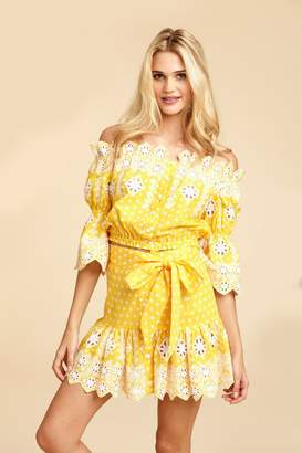 Miguelina Emy Broderie Anglaise Skirt - Rubber Ducky Yellow