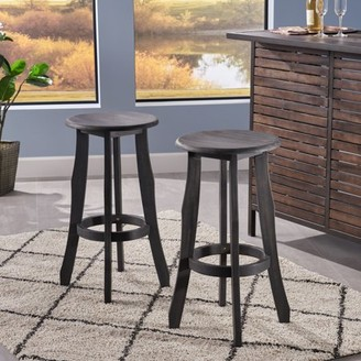 Raina Noble House Indoor Acacia Wood Barstools, Set of 2, Dark Grey