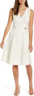 Anne Klein V-Neck Jacquard Fit & Flare Dress