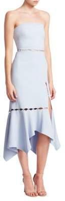 Jonathan Simkhai Crepe Strapless Slit Flounce Dress