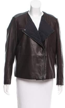 Brunello Cucinelli Sequin-Embellished Leather Jacket