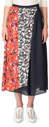 Acne Studios Hayett Mixed Floral-Print A-line Skirt