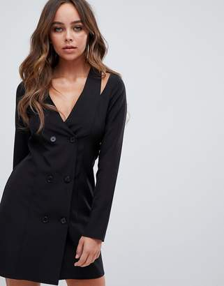 PrettyLittleThing Premium cut out shoulder blazer mini dress in black