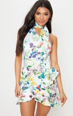 PrettyLittleThing White Floral Tie Neck One Shoulder Frill Hem Bodycon Dress