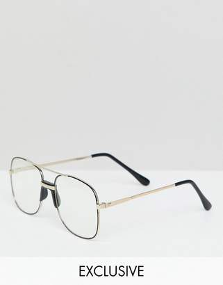 Reclaimed Vintage Inspired Aviator Clear Lens Glasses In Copper