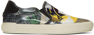 Fendi Multicolor Fake News Print Sneakers