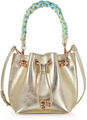Sophia Webster Champagne Laminated Leather Romy Mini Bucket Bag