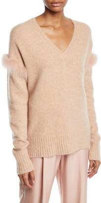 Sally LaPointe Fox-Fur Trim V-Neck Cashmere-Silk Pullover Sweater
