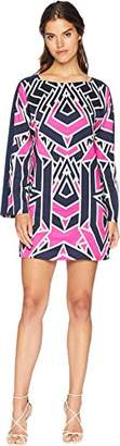 Juicy Couture Black Label Women's Long Printed Shift Dress with Bell Sleeves
