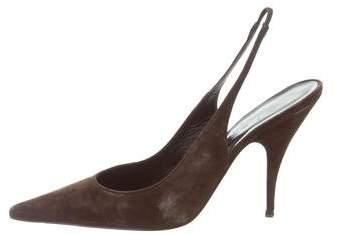 Christian Dior Suede Slingback Pumps
