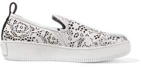 McQ Rubber-Paneled Perforated Leather Slip-On Sneakers