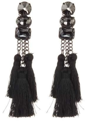 Shashi Sweda Crystal Tassel Drop Earrings