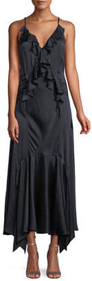 Rebecca Taylor Silk Charmeuse Ruffle Slip Dress