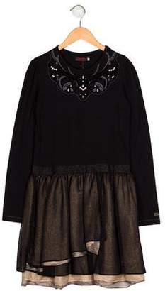 Catimini Girls' Embellished Crew Neck Dress w/ Tags