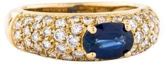 Ring 18K Oval Sapphire & Pavé Diamond Cocktail
