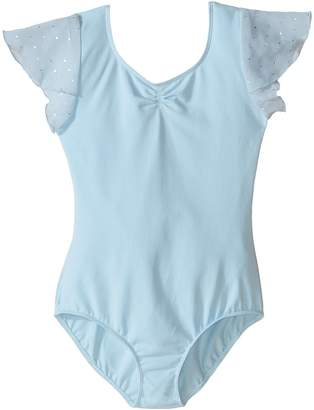 Bloch Flutter Sleeve Leotard with Sequin Dot Girl's Jumpsuit & Rompers One Piece
